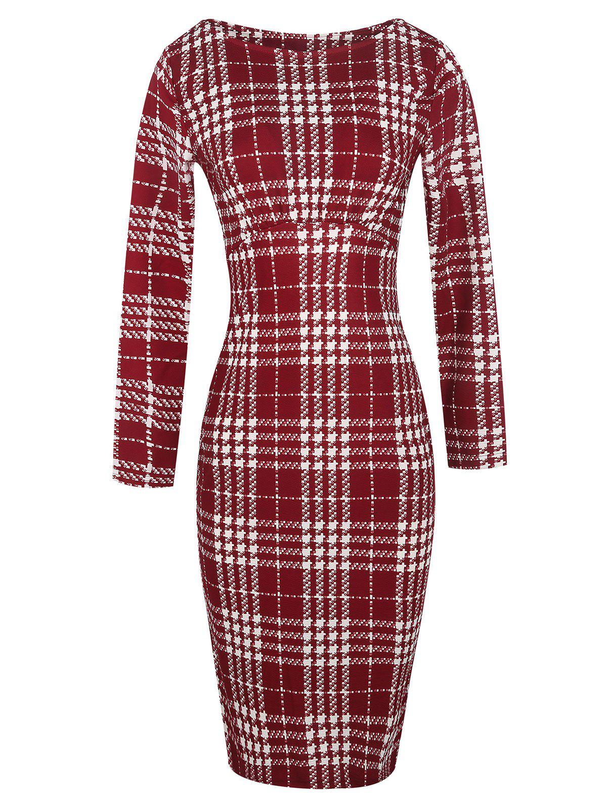 Long Sleeve Plaid Bodycon Dress - RED L