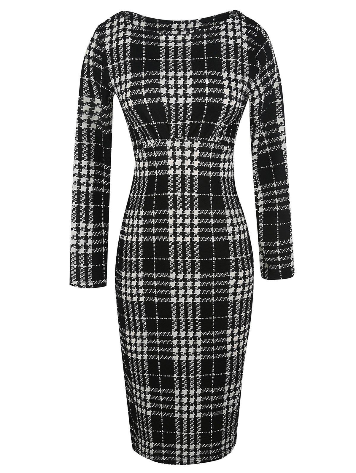 Long Sleeve Plaid Bodycon Dress - BLACK L