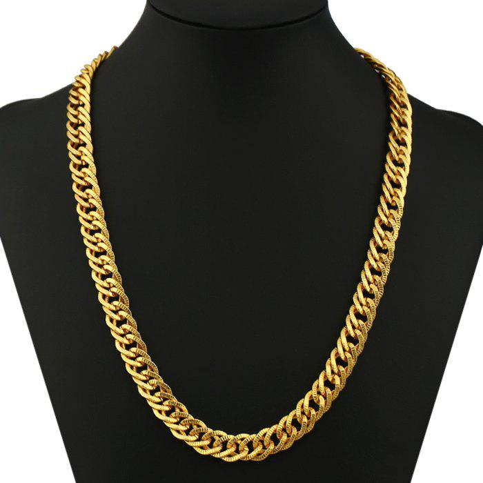 Exaggerate Plated Pattern Punk Chain Necklace - GOLDEN