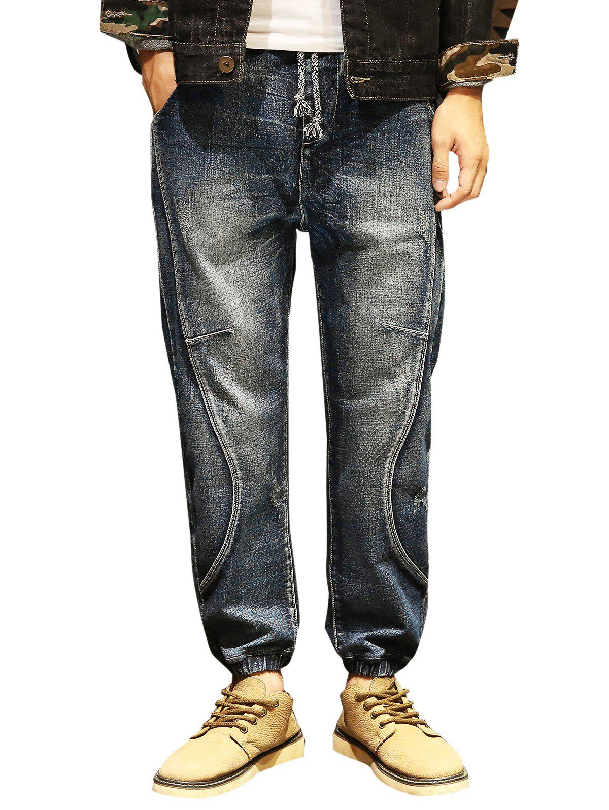 Drawstring Slight Faded Jogger Jeans - BLUE 38