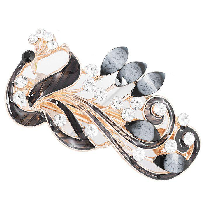 Unique Peacock Shaped Rhinestone Hair Clip - BLACK