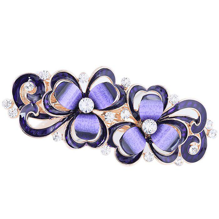 Unique Rhinestone Inlay Decorative Barrette - PURPLE