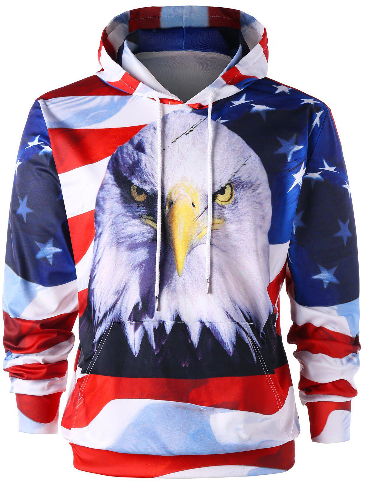 Kangaroo Pocket 3D Eagle and American Flag Hoodie