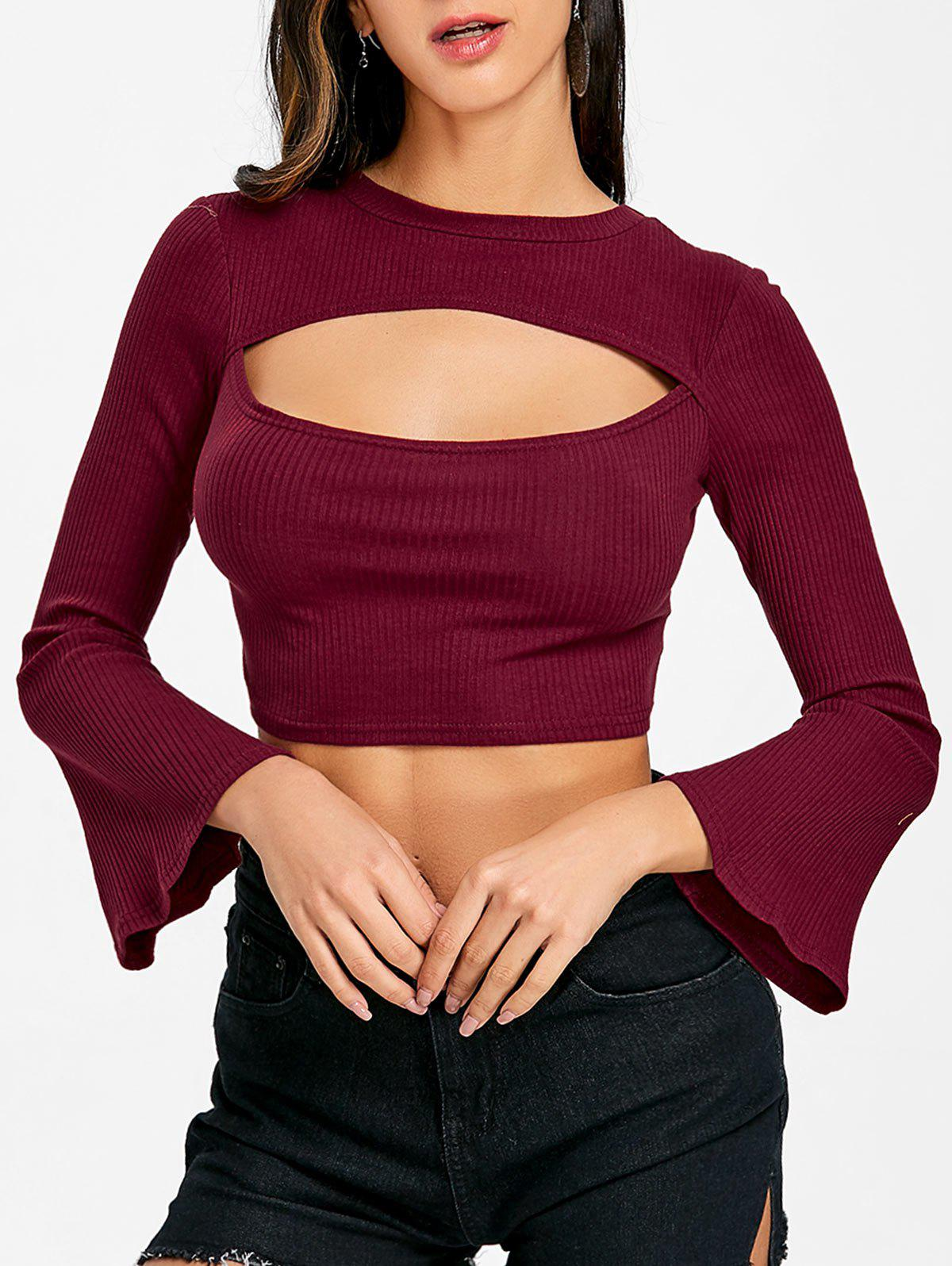 Flare Sleeve Cropped Cut Out Rib Top - WINE RED XL