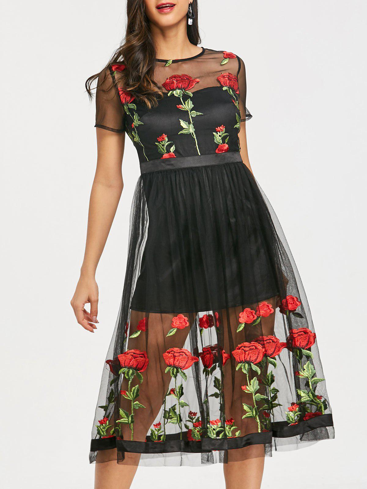 Embroidery Floral Sheer Tulle Tea Length Dress - BLACK 2XL