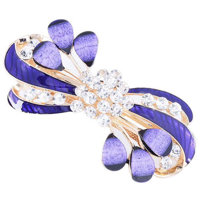 Rhinestone Leaves Decorated Hair Clip - PURPLE