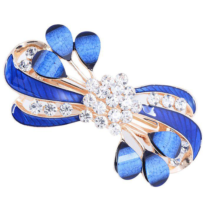 Rhinestone Leaves Decorated Hair Clip - BLUE