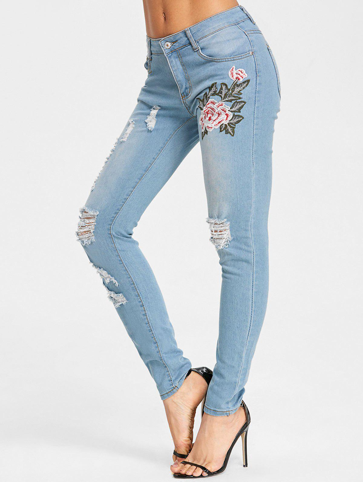 High Rise Embroidery Destroyed Jeans - LIGHT BLUE S