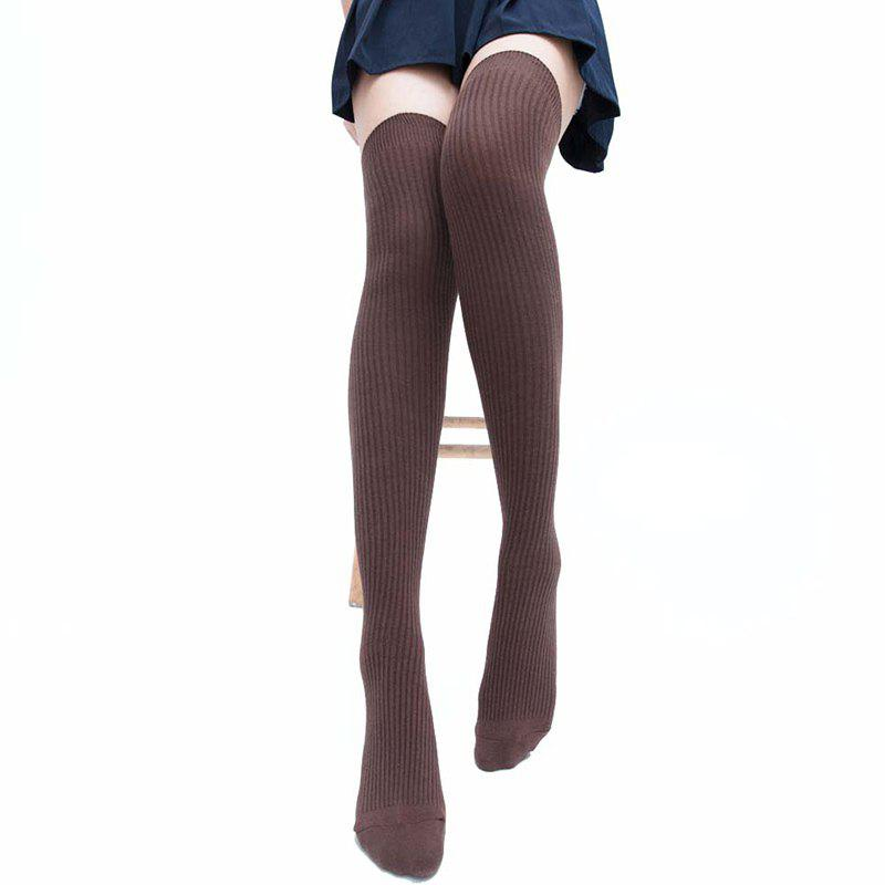 Simple Striped Pattern Thigh High Socks - CAPPUCCINO