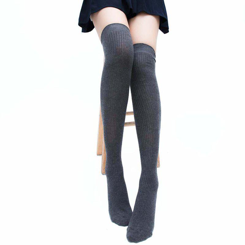 Simple Striped Pattern Thigh High Socks - DEEP GRAY