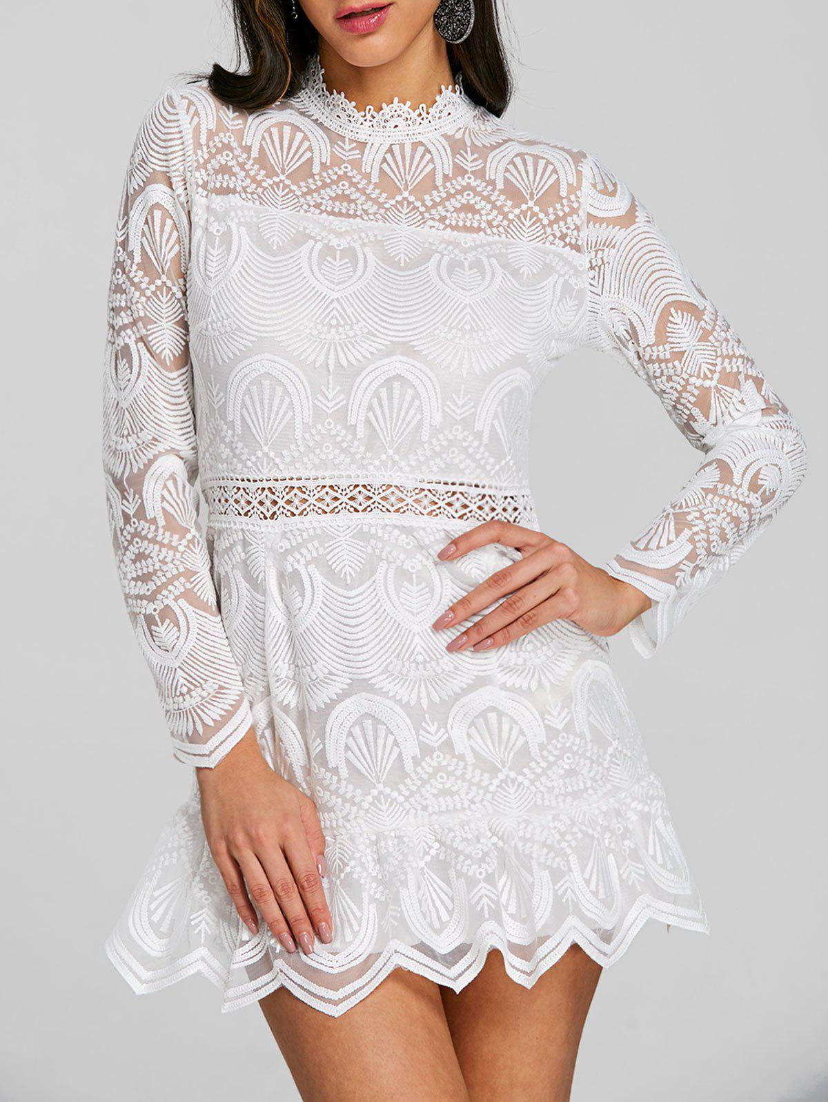 Scalloped Long Sleeve Lace Mini Dress - WHITE XL