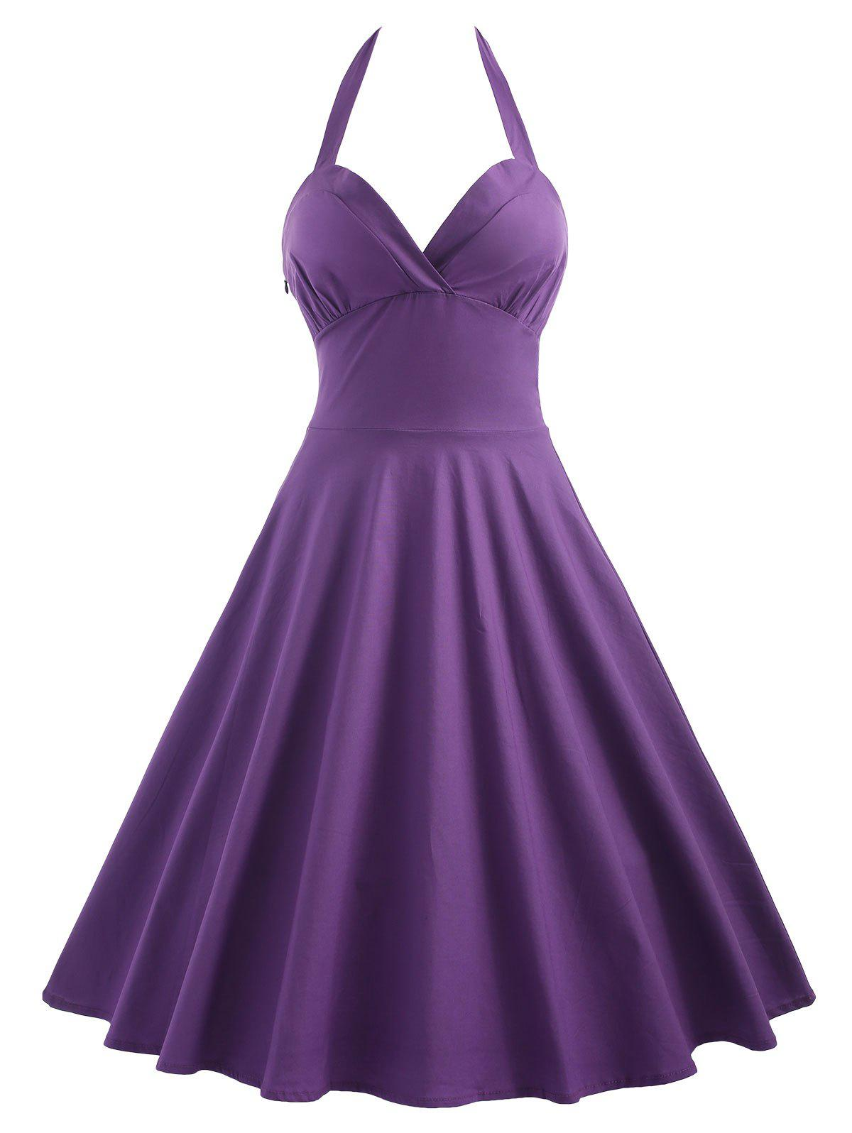 Halter Vintage Flare Pin Up Dress - PURPLE 2XL