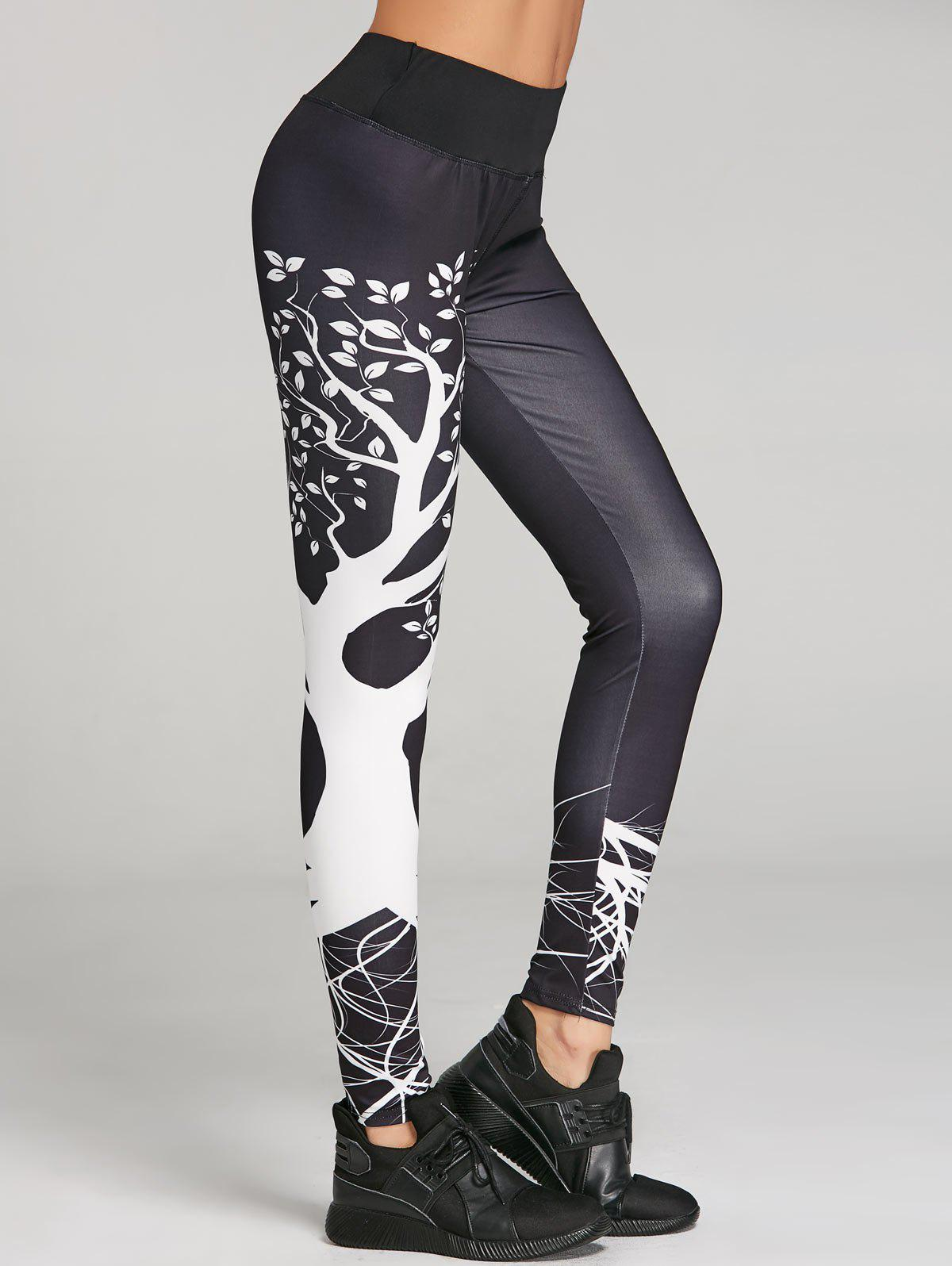 Skinny Branch Print Sports Leggings - BLACK M