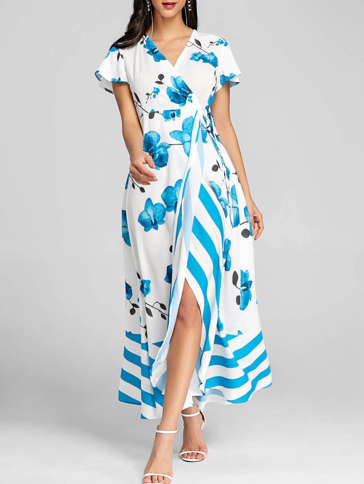 Floral Print Maxi Beach Dress - BLUE M