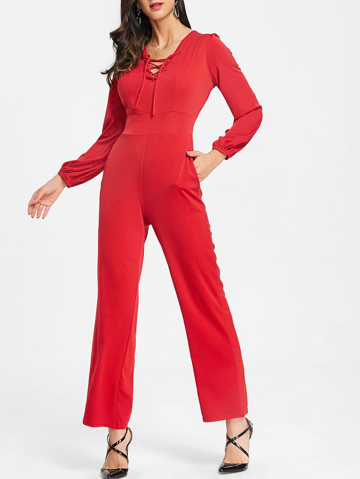 Lace Up Plunging Jumpsuit - RED S