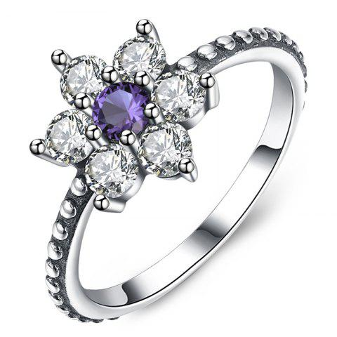 Artificial Amethyst Sterling Silver Rhinestone Floral Ring - SILVER 9