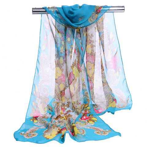 Unique Floral Pattern Lightweight Silky Scarf - LAKE BLUE