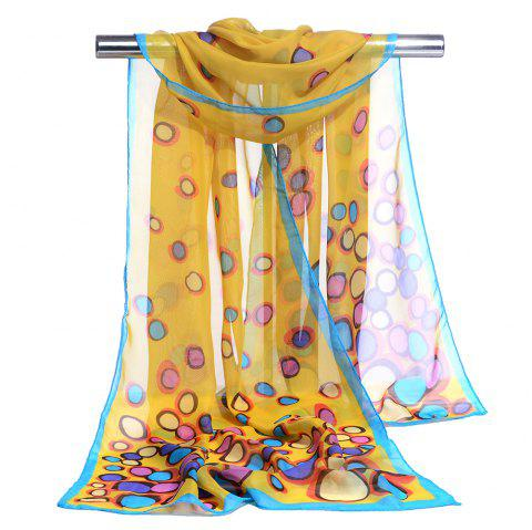 Color Dot Pattern Embellished Silky Scarf - YELLOW