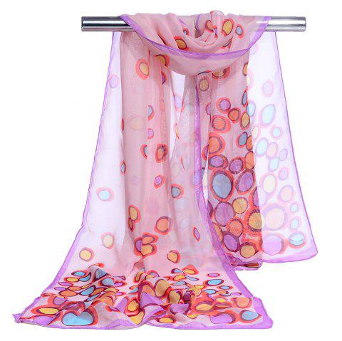 Color Dot Pattern Embellished Silky Scarf - PINK