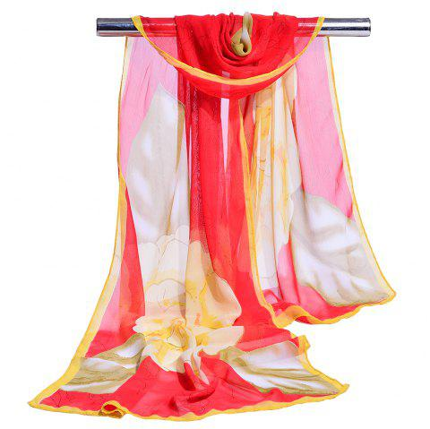 Flourishing Floral Pattern Silky Long Scarf - RED