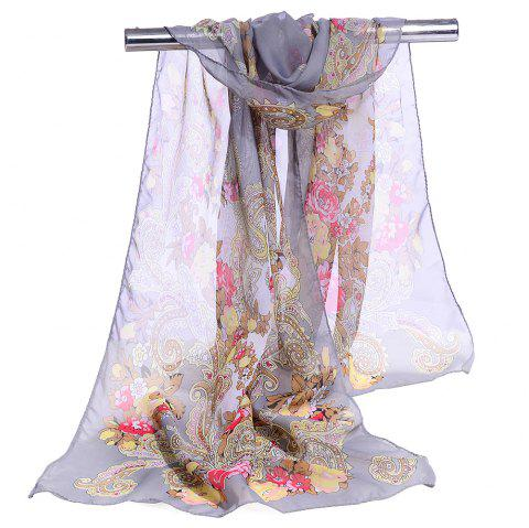 Unique Floral Pattern Lightweight Silky Scarf - GRAY