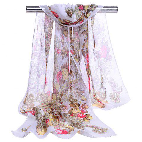 Unique Floral Pattern Lightweight Silky Scarf - WHITE