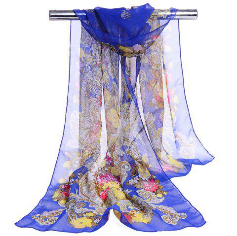 Unique Floral Pattern Lightweight Silky Scarf - ROYAL