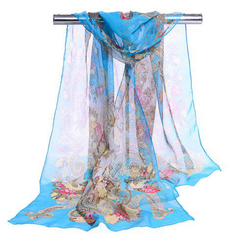 Unique Floral Pattern Lightweight Silky Scarf - AZURE