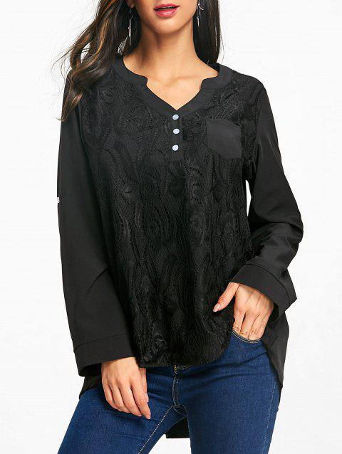 High Low Lace Insert Tunic Blouse - BLACK L