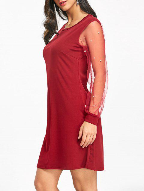 Mesh Sleeve Faux Pearl Casual Dress - WINE RED M