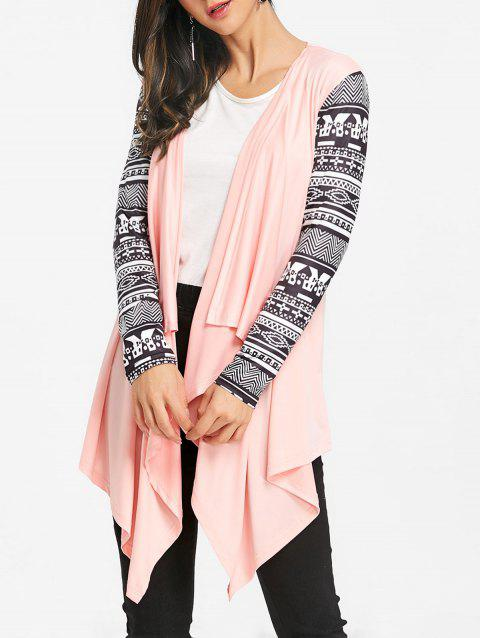 Tribal Print Sleeve Draped Asymmetric Cardigan - PINK 2XL