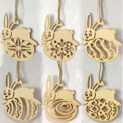 6 Pcs Wooden Rabbit Egg Shape Easter Decorations - WOOD