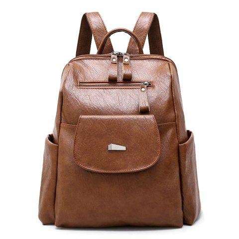 Side Pockets Backpack with Handle - BROWN