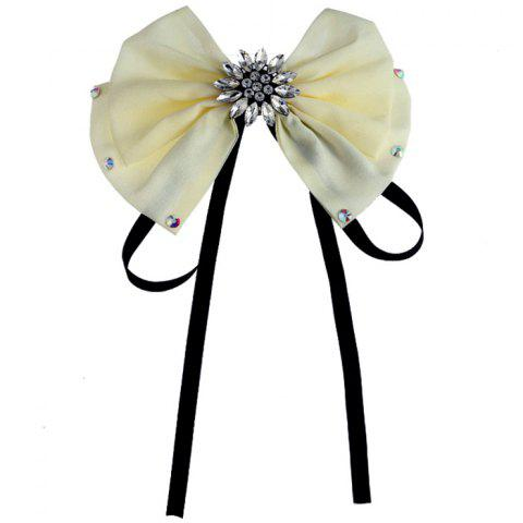 Rhinestone Floral Bowknot Pattern Decorated Collar Brooch - YELLOW