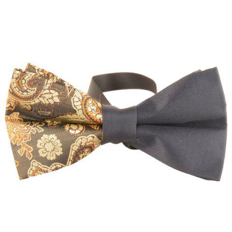 Vintage Asymmetric Cashew Pattern Bow Tie - YELLOW