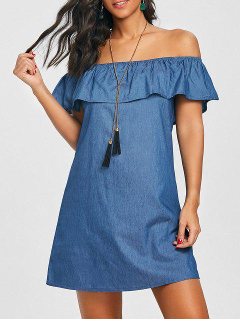 Flounce Off The Shoulder Denim Dress - BLUE XL