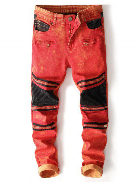 Zipper Color Block Biker Jeans - RED 38
