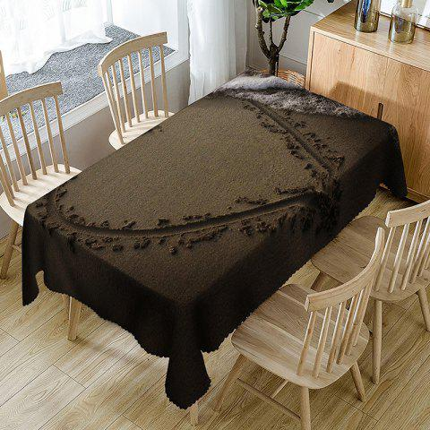 Waterproof Drawing Heart on Beach Print Table Cloth - BROWN W60 INCH * L84 INCH