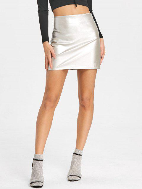 High Rise Sparkle Mini Skirt - SILVER L