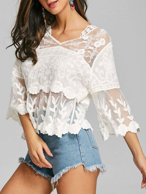 Sheer Embroidered Mesh Panel Top - WHITE ONE SIZE