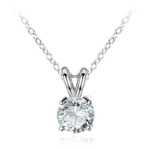 Simple Rhinestone Collarbone Necklace - SILVER
