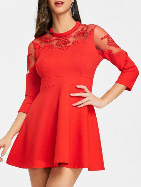 Sheer Mesh Insert Embroidered Flare Dress - RED XL