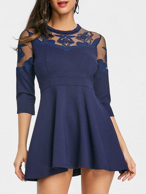 Sheer Mesh Insert Embroidered Flare Dress - DEEP BLUE S