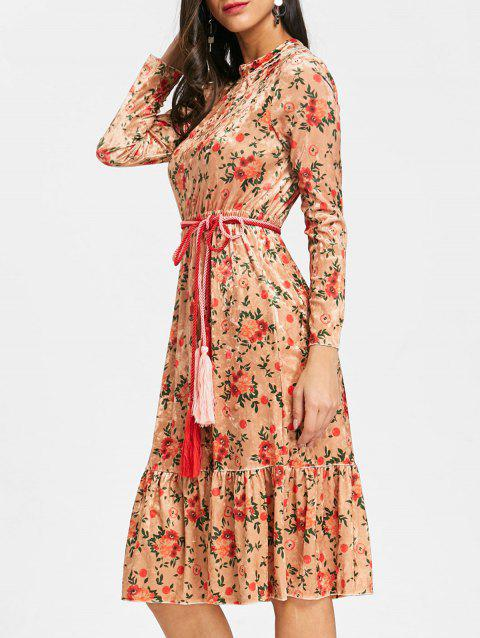 Velvet Belted Floral Flounced Dress - DEEP YELLOW XL