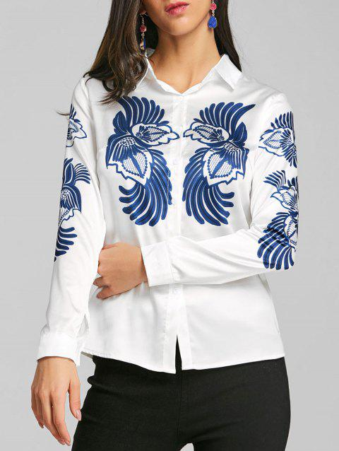 Totem Print Silk Fitted Shirt - WHITE 2XL