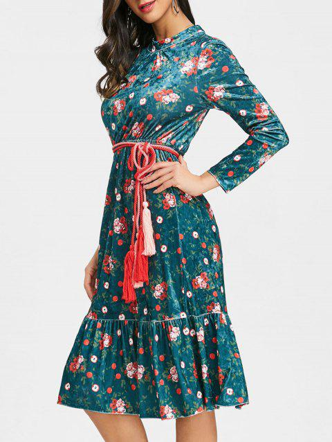 Velvet Belted Floral Flounced Dress - DEEP GREEN S