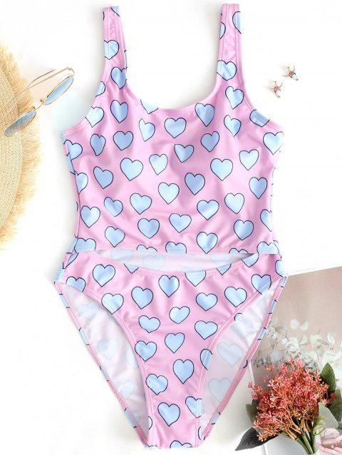 Hearts Print Cut Out High Leg Swimsuit - PINK L