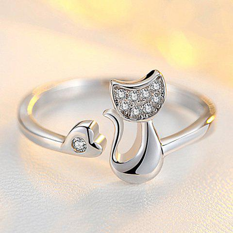 Artificial Diamond Heart Cat Metal Open Ring - SILVER ONE SIZE