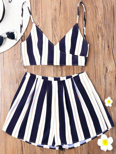 Striped Cami Top with Wide Leg Shorts - BLUE STRIPE L