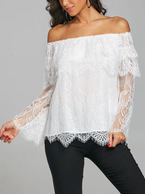 Tiered Overlay Bell Sleeve Scalloped Blouse - WHITE XL
